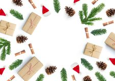 Christmas Gift Composition Background. Christmas present and natural composition background with gifts and fir tree branches Stock Image