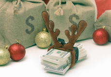 Christmas gift concept with money isolated on white royalty free stock image