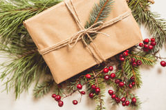 Christmas gift with conifer needles Stock Photos