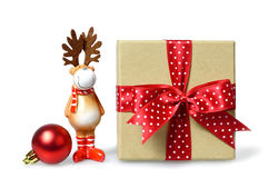Christmas gift and cute reindeer Stock Photography