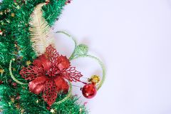 Christmas gift, decor and fir tree branch Stock Images