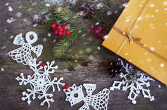 Christmas gift and decor with snow with toning Stock Photography