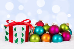 Christmas gift decoration with colorful balls Stock Images