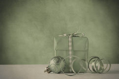 Christmas Gift and Decoration in Faded Vintage Style Stock Images