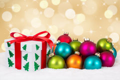 Christmas gift decoration with golden background Royalty Free Stock Photography