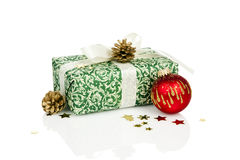Christmas gift and decoration isolated Stock Images