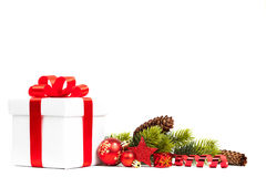 Christmas gift with decoration stock image