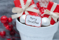 Christmas. Gift, decoration and label Royalty Free Stock Photos