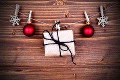 Christmas Gift and Decoration on a Line Royalty Free Stock Photography