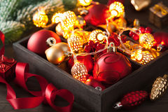 Christmas gift and decoration in wooden box garland lantern Royalty Free Stock Photography