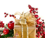 Christmas Gift with Decorations. On white background Stock Photo