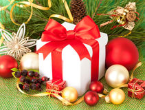 Christmas gift and decorations Royalty Free Stock Images