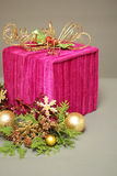 Christmas gift with decorations. A beautiful  gift with Christmas decorations Stock Images