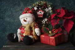 Christmas gift with decorations. Christmas decorations and gifts at home stock image