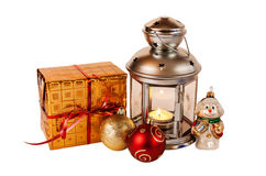 Christmas gift, decorations and  lantern on white Stock Photo