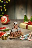 Christmas gift and decorations on the table. Closeup Royalty Free Stock Images