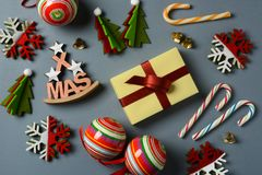 Christmas gift and decorations on the table. Closeup Royalty Free Stock Image