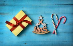 Christmas gift and decorations on the table. Closeup Stock Photography