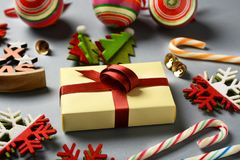 Christmas gift and decorations on the table. Closeup Stock Image