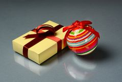 Christmas gift and decorations on the table. Closeup Royalty Free Stock Photo