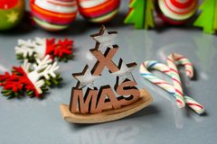 Christmas gift and decorations on the table. Closeup Stock Images