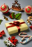 Christmas gift and decorations on the table. Closeup Royalty Free Stock Photos