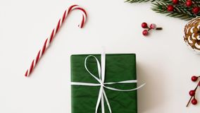 Christmas gift and decorations on white background stock video footage