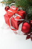 Christmas gift and decorations on the white Royalty Free Stock Photography