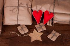 Christmas gift and decorations on wooden background Stock Image