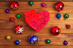 Christmas gift and different christmas toys Royalty Free Stock Photos