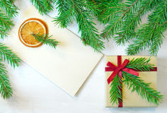 Christmas gift and envelope Stock Image