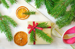 Christmas gift and envelope Royalty Free Stock Photography