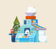 Christmas gift factory. Holiday Machine process in isometric style. Royalty Free Stock Images