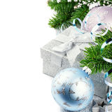 Christmas gift and festive ornaments stock photos