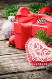 Christmas gift and festive ornaments Royalty Free Stock Photography