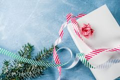 Christmas gift with festive ribbon stock images