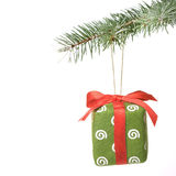 Christmas gift on fir tree Royalty Free Stock Photos
