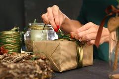 Christmas gift. Florists, art decoration. Royalty Free Stock Image