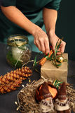 Christmas gift. Florists, art decoration. Royalty Free Stock Photo