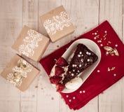 Christmas gift and food celebration stock image