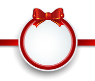 Christmas gift frame with red ribbon and bow. Stock Images