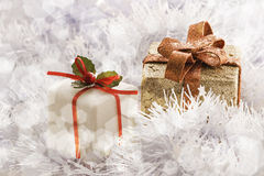 Christmas gift in Freezing Cold Winter Background Stock Photos