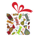 Christmas gift full of candies Royalty Free Stock Photos