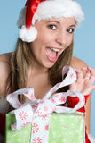 Christmas Gift Girl Stock Photo