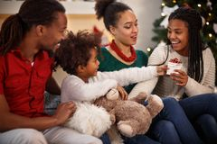 Christmas gift giving royalty free stock photography