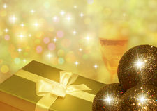 Christmas gift with glass of champagne Royalty Free Stock Image