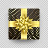 Christmas gift box present red golden ribbon bow wrapping pattern vector isolated. Christmas gift golden box New Year present in gold ribbon bow and dotted gold Stock Photography
