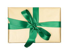 Christmas gift golden top view Royalty Free Stock Images
