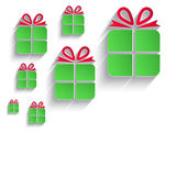 christmas gift green red paper 3D icon Stock Photo