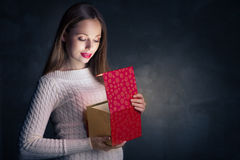 Christmas Gift. Happy Girl Opening Box Royalty Free Stock Photos